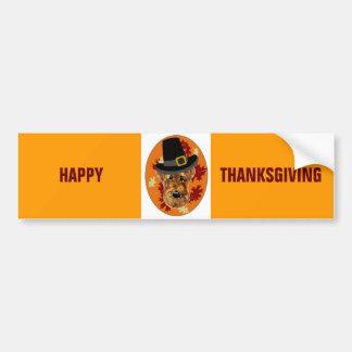 Thanksgiving Airedale Terrier Car Bumper Sticker