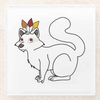 Thanksgiving Albino Raccoon with Indian Headdress Glass Coaster