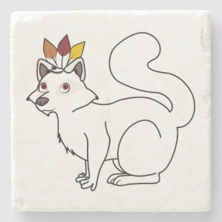 Thanksgiving Albino Raccoon with Indian Headdress Stone Coaster