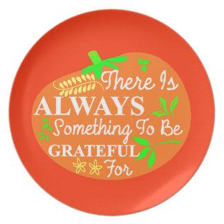 Thanksgiving Always Grateful Pumpkin Typography Dinner Plate
