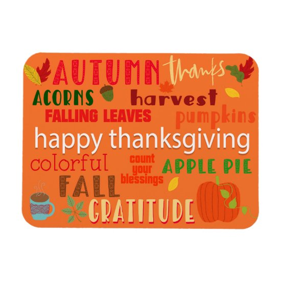 Thanksgiving and Fall Word Art Magnet