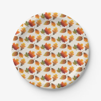 Thanksgiving Autumn Colorful Leaves Paper Plate