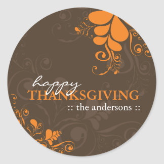 Thanksgiving Autumn Deco Leaves Swirls Stickers