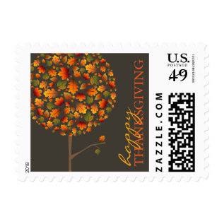 Thanksgiving Autumn Fall Leaves Pop Tree Holiday Postage at Zazzle