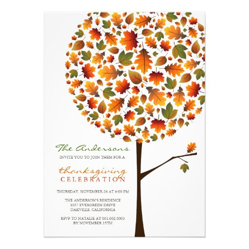 Thanksgiving Autumn Fall Leaves Pop Tree Party Cards