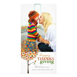 Thanksgiving Autumn Fall Leaves Pop Tree Photo Photo Card