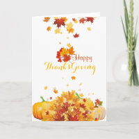 Thanksgiving Autumn Falling Leaves and Pumpkins Holiday Card