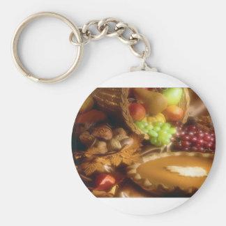 Thanksgiving Autumn Feast Dinner Print Basic Round Button Keychain