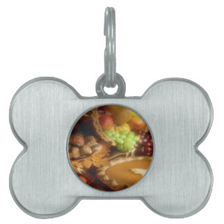Thanksgiving Autumn Feast Dinner Print Pet ID Tag