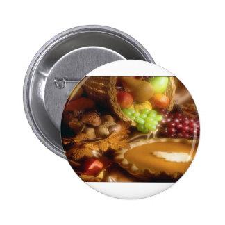 Thanksgiving Autumn Feast Dinner Print Pinback Button