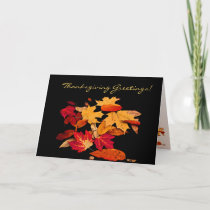 Thanksgiving Autumn Foliage in Orange Red Yellow Holiday Card
