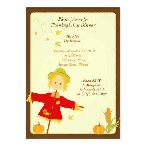 Thanksgiving Autumn Harvest Scarecrow Invitation