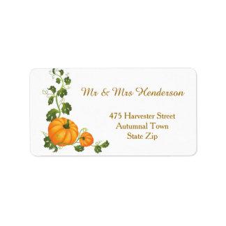 Thanksgiving, autumn harvest, two pumpkins Label
