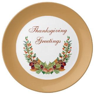 Thanksgiving Autumn Laurel Porcelain Plate