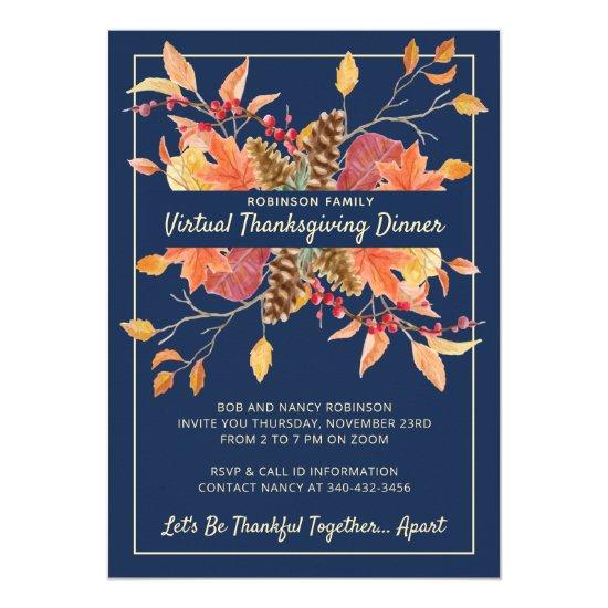 Thanksgiving Autumn Leaves Virtual Dinner Invitation