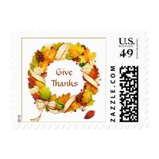 Thanksgiving. Autumn leaves wreath Postage
