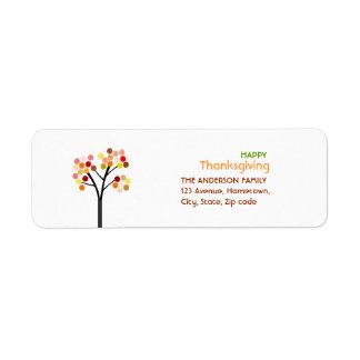 Thanksgiving Autumn Tree Return Address Label