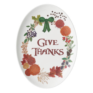 Thanksgiving Autumn Wreath to Customize Porcelain Serving Platter