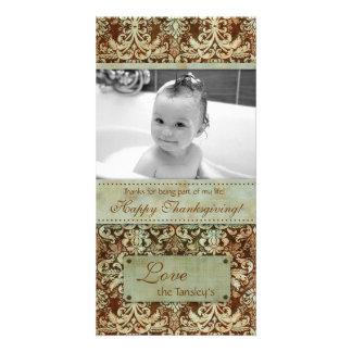 Thanksgiving Baby Photo Card Vintage Damask