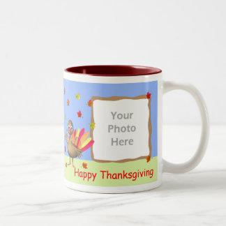 Thanksgiving Baby Turkey 2-Photo Frame Coffee Mugs