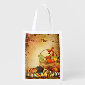 Thanksgiving, basket with autumn harvest reusable grocery bag