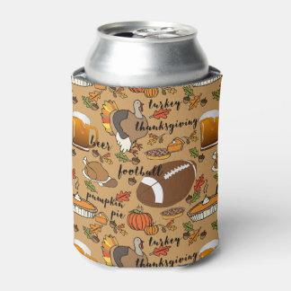 Thanksgiving, Beer, Turkey & Football Design Can Cooler