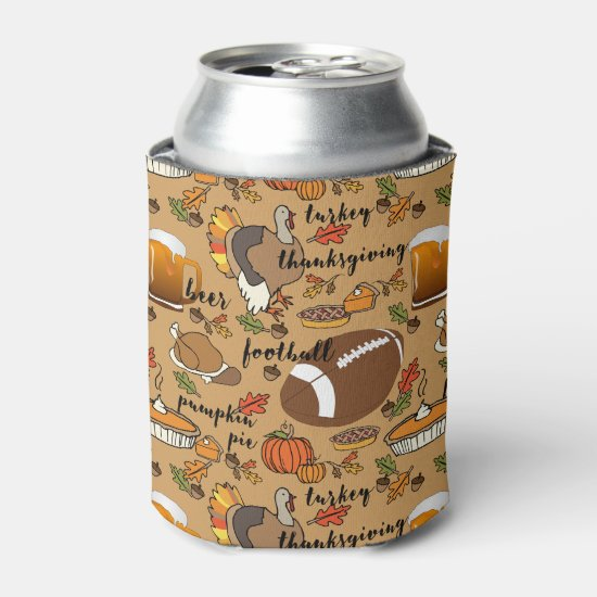 Thanksgiving, Beer, Turkey & Football Design Can Cooler
