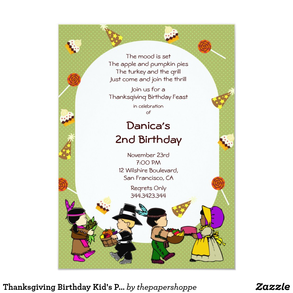 Thanksgiving Birthday Kid's Party Invitation