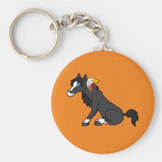 Thanksgiving Black Horse with Turkey Feathers Basic Round Button Keychain