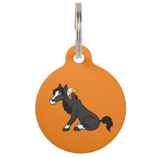 Thanksgiving Black Horse with Turkey Feathers Pet ID Tag