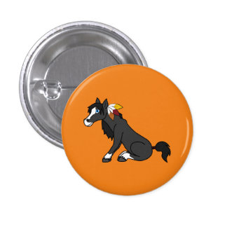 Thanksgiving Black Horse with Turkey Feathers Pinback Button
