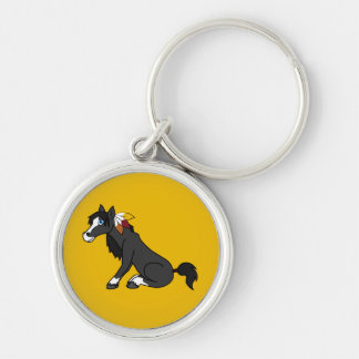 Thanksgiving Black Horse with Turkey Feathers Silver-Colored Round Keychain