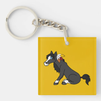 Thanksgiving Black Horse with Turkey Feathers Single-Sided Square Acrylic Keychain