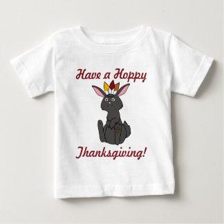 Thanksgiving Black Rabbit with Indian Headdress Baby T-Shirt