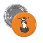 Thanksgiving Black & White Rabbit with Headdress 1 Inch Round Button
