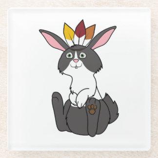 Thanksgiving Black & White Rabbit with Headdress Glass Coaster