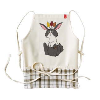 Thanksgiving Black & White Rabbit with Headdress Zazzle HEART Apron