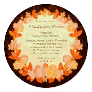 Thanksgiving Bounty Wreath Dinner Party Invitation