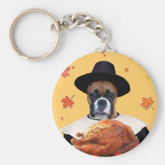 Thanksgiving Boxer Dog Basic Round Button Keychain