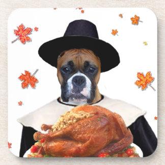 Thanksgiving Boxer Dog Beverage Coaster
