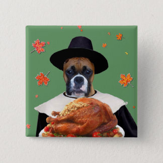 Thanksgiving Boxer Dog Button