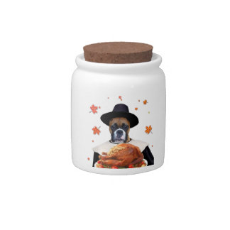 Thanksgiving Boxer Dog Candy Dishes