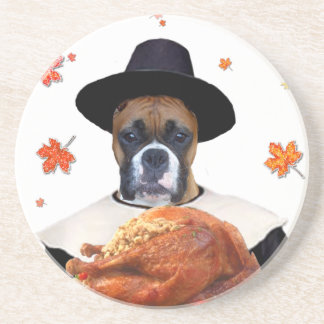 Thanksgiving Boxer dog Coaster
