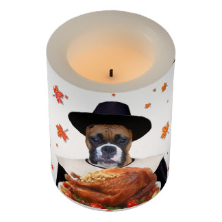 Thanksgiving Boxer Dog LED candle Flameless Candle