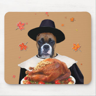 Thanksgiving Boxer Dog mousepad