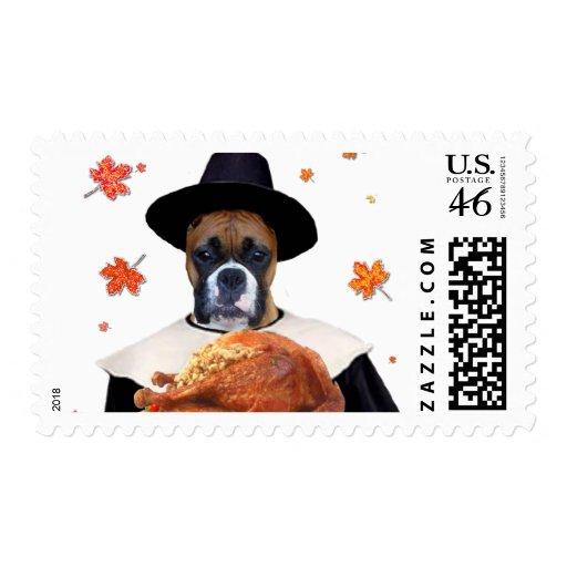 Thanksgiving Boxer dog Stamps