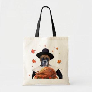 Thanksgiving Boxer Dog tote bag