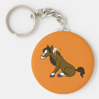 Thanksgiving Brown Horse with Turkey Feathers Keychain
