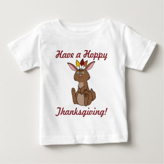 Thanksgiving Brown Rabbit with Indian Headdress Baby T-Shirt