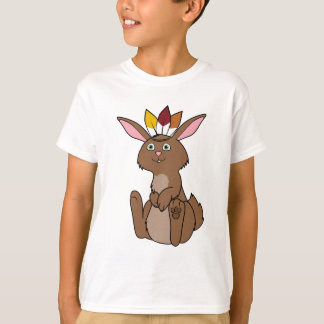 Thanksgiving Brown Rabbit with Indian Headdress T-Shirt